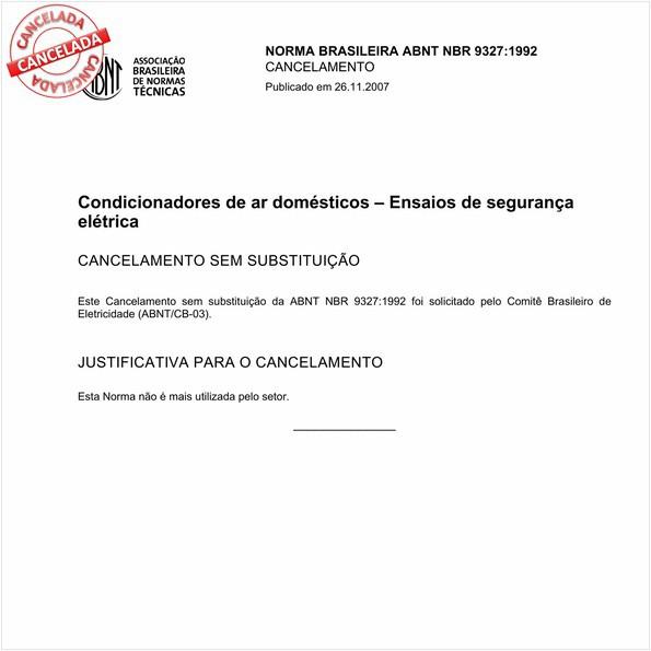 Condicionadores de ar domésticos - Ensaios de segurança elétrica