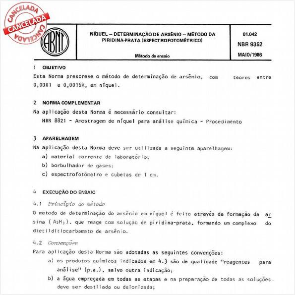 Níquel - Determinação de arsênio - Método da piridina-prata (espectrofotométrico)