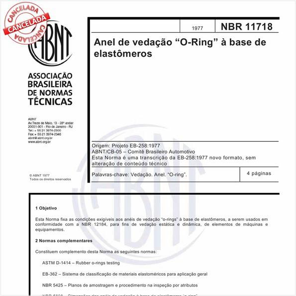 ABNT NBR 11718 NBR11718 Anel de vedação \