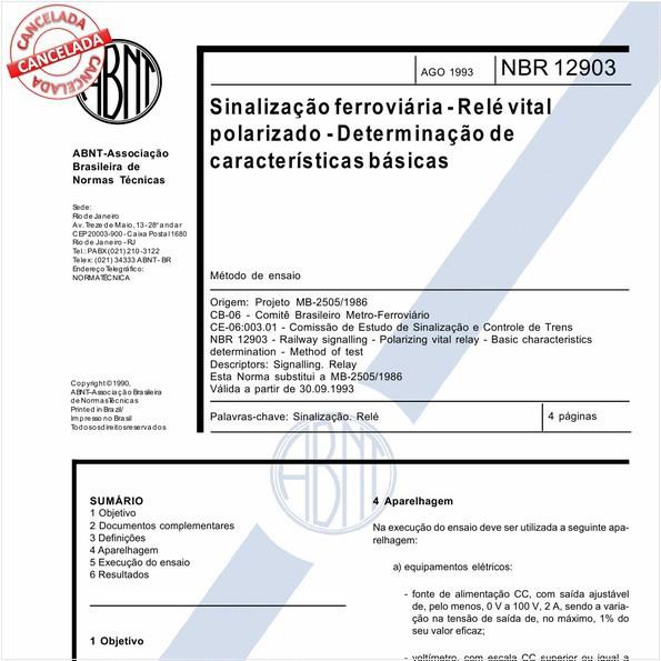 Sinalização ferroviária - Relé vital polarizado - Determinação de características básicas