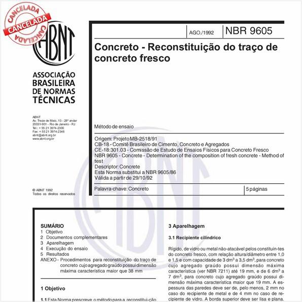 Concreto - Reconstituição do traço de concreto fresco