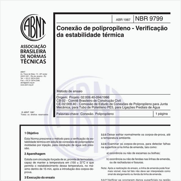Conexão de polipropileno - Verificação da estabilidade térmica - Método de ensaio