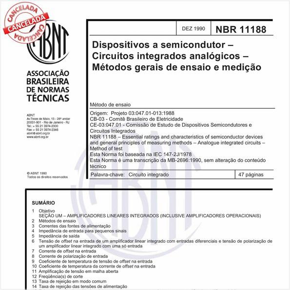 Dispositivos a semicondutor - Circuitos integrados analógicos - Métodos gerais de ensaio e medição