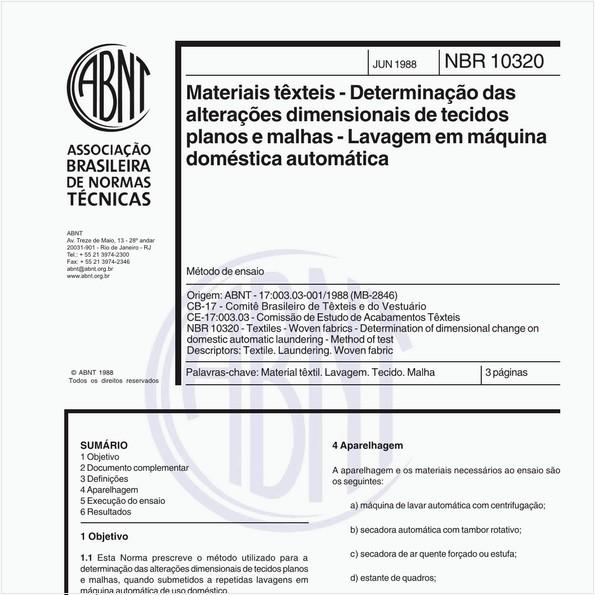 Materiais têxteis - Determinação das alterações dimensionais de tecidos planos e malhas - Lavagem em máquina doméstica automática - Método de ensaio