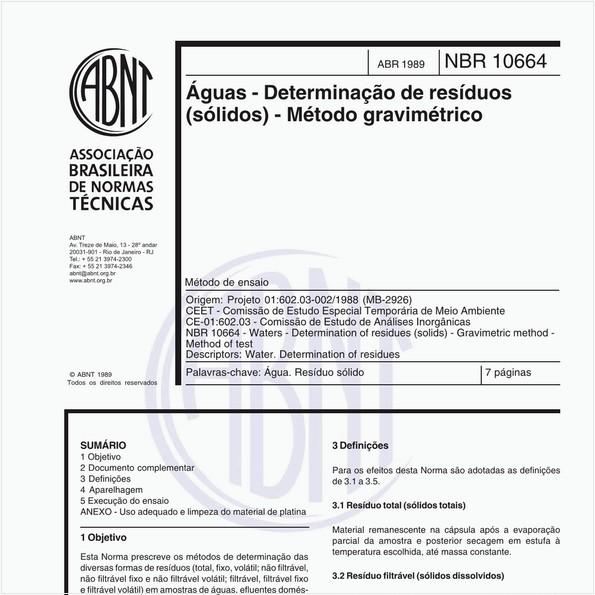 Águas - Determinação de resíduos (sólidos) - Método gravimétrico - Método de ensaio