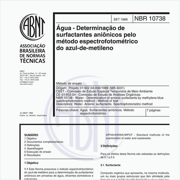Água - Determinação de surfactantes aniônicos pelo método espectrofotométrico do azul-de-metileno - Método de ensaio