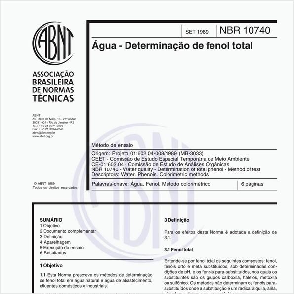 Água - Determinação de fenol total - Método de ensaio