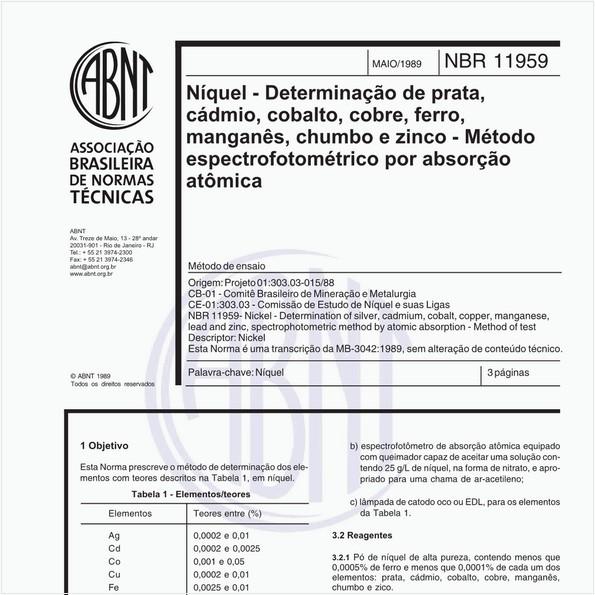 Níquel - Determinação de prata, cádmio, cobalto, cobre, ferro, manganês, chumbo e zinco - Método espectrofotométrico por absorção atômica - Método de ensaio