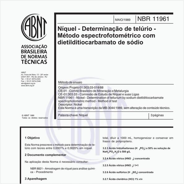 Níquel - Determinação de telúrio - Método espectrofotométrico com dietilditiocarbamato de sódio - Método de ensaio