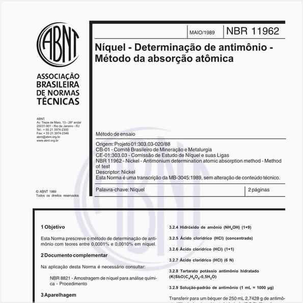 NBR11962 de 05/1989