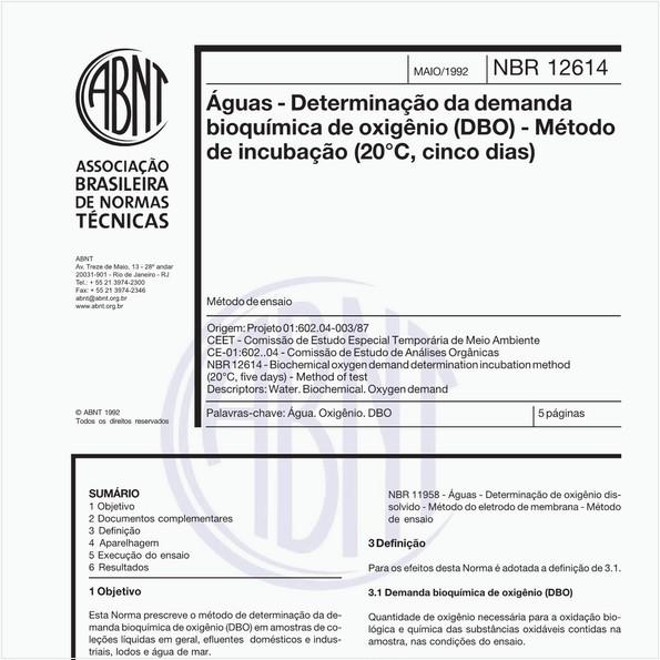 Águas - Determinação da demanda bioquímica de oxigênio (DBO) - Método de incubação (20°C, cinco dias) - Método de ensaio