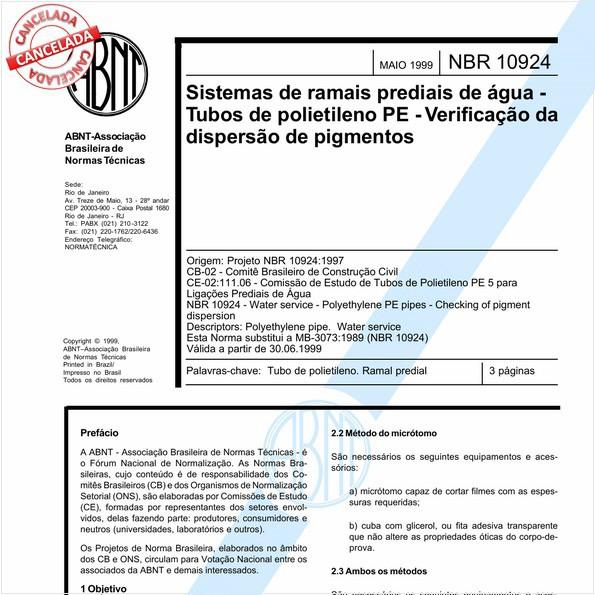 Sistemas de ramais prediais de água - Tubos de polietileno PE - Verificação da dispersão de pigmentos