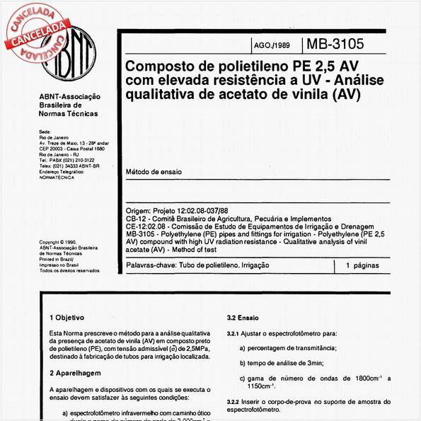 Composto de polietileno PE 2,5 AV com elevada resistência a UV - Análise qualitativa de acetato de vinila (AV)