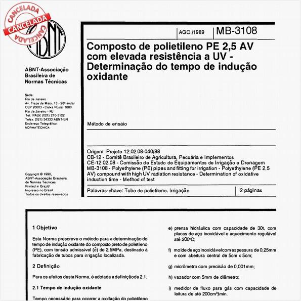 Composto de polietileno PE 2,5 AV com elevada resistência a UV - Determinação do tempo de indução oxidante