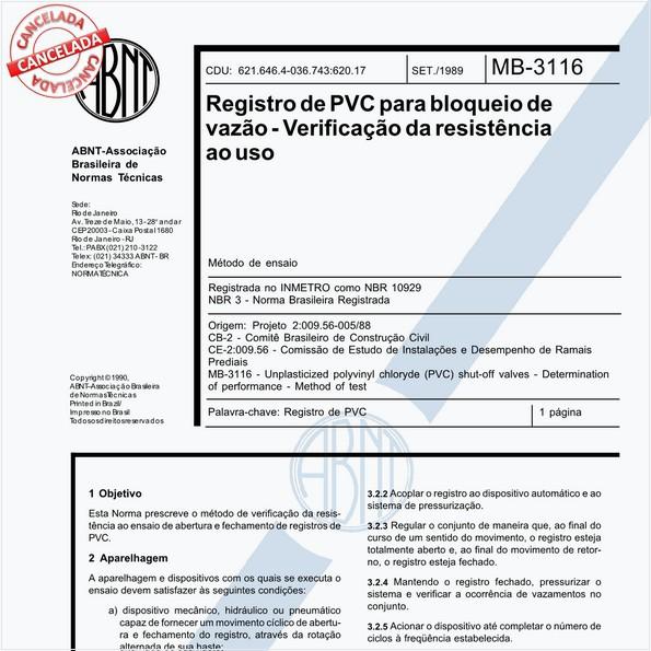 Registro de PVC para bloqueio de vazão - Verificação da resistência ao uso