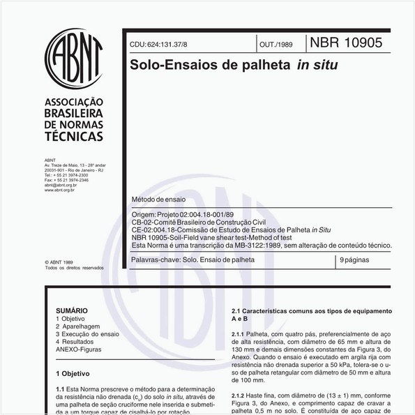 Solo - Ensaios de palheta in situ - Método de ensaio