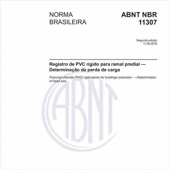 Registro de PVC rígido para ramal predial - Determinação da perda de carga