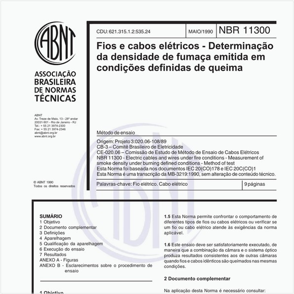 Fios e cabos elétricos - Determinação da densidade de fumaça emitida em condições definidas de queima - Método de ensaio