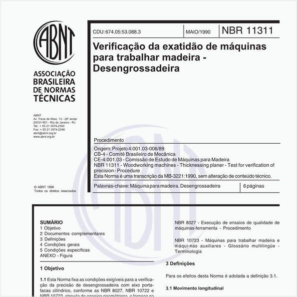 Verificação da exatidão de máquinas para trabalhar madeira - Desengrossadeira - Procedimento