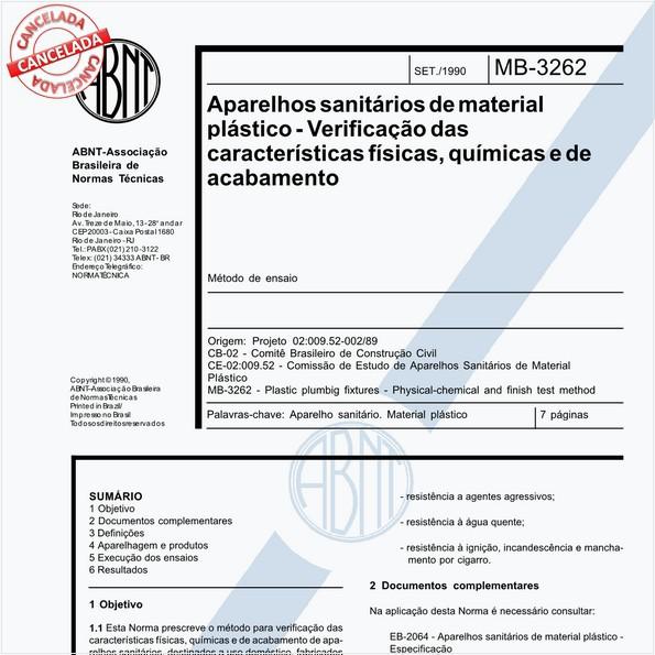 Aparelhos sanitários de material plástico - Verificação das características físicas, químicas e de acabamento