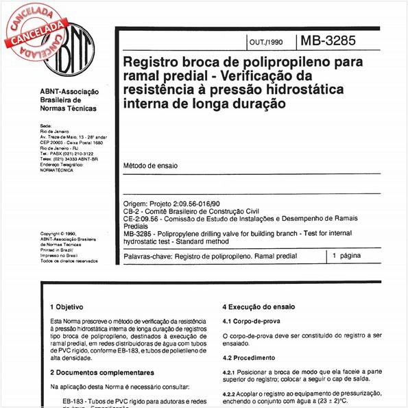 Registro broca de polipropileno para ramal predial - Verificação da resistência à pressão hidrostática interna de longa duração
