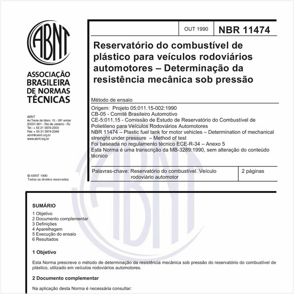 Reservatório do combustível de plástico para veículos rodoviários automotores - Determinação da resistência mecânica sob pressão - Método de ensaio