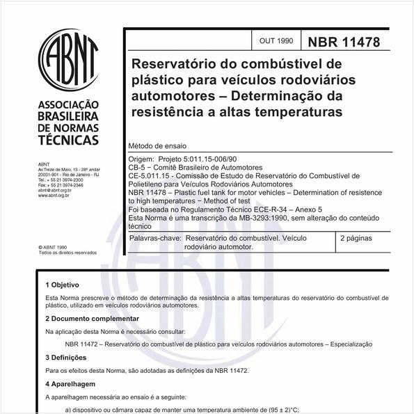 Reservatório do combustível de plástico para veículos rodoviários automotores - Determinação da resistência a altas temperaturas - Método de ensaio
