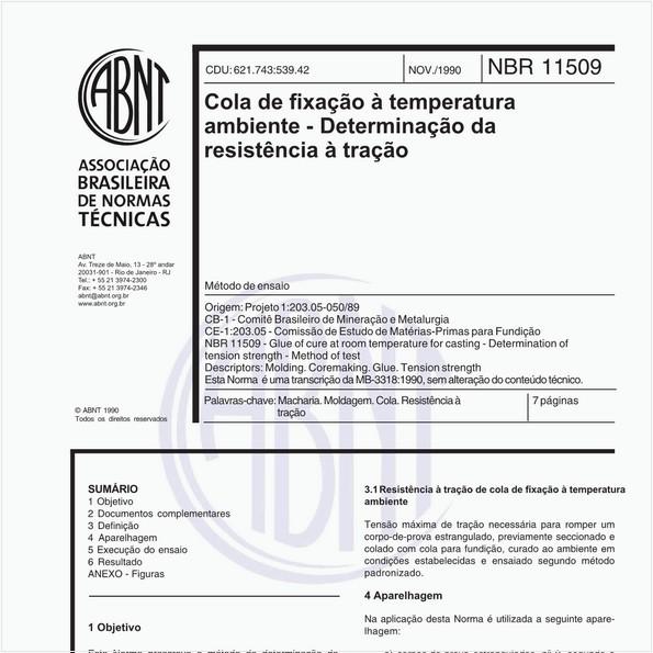 Cola de fixação à temperatura ambiente - Determinação da resistência à tração - Método de ensaio
