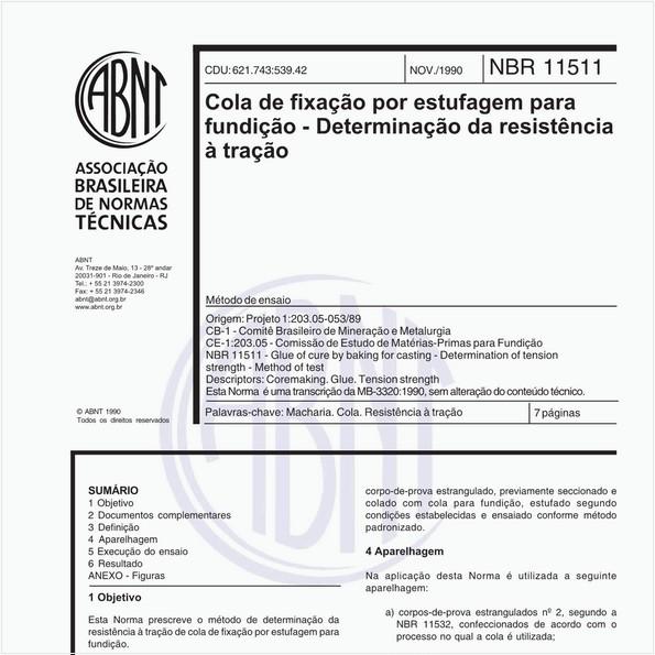 Cola de fixação por estufagem para fundição - Determinação da resistência à tração - Método de ensaio