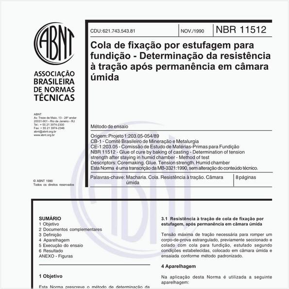 Cola de fixação por estufagem para fundição - Determinação da resistência à tração após permanência em câmara úmida - Método de ensaio