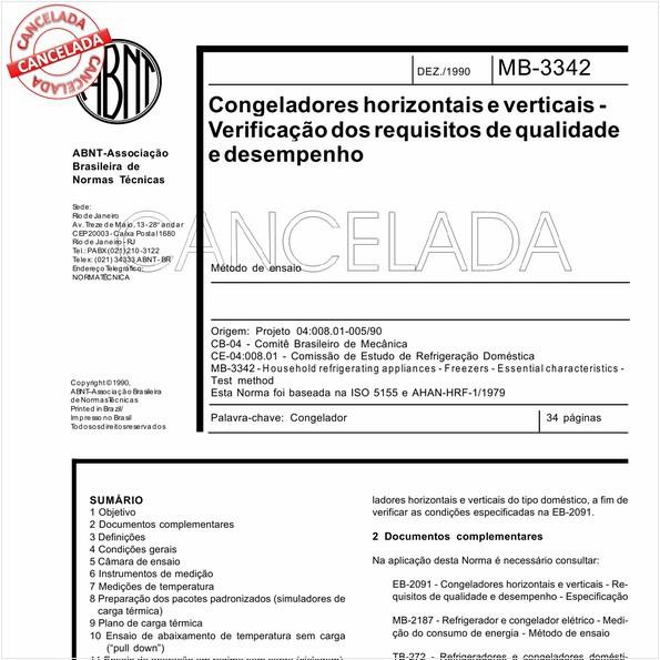 Congeladores horizontais e verticais - Verificação dos requisitos de qualidade e desempenho