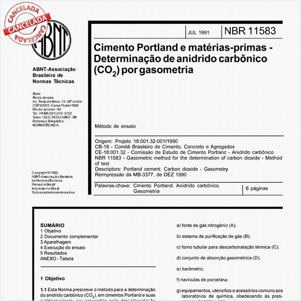 Cimento Portland e matérias-primas - Determinação de anidrido carbônico (CO2) por gasometria