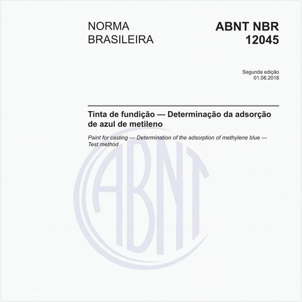 Tinta de fundição - Determinação da adsorção de azul de metileno