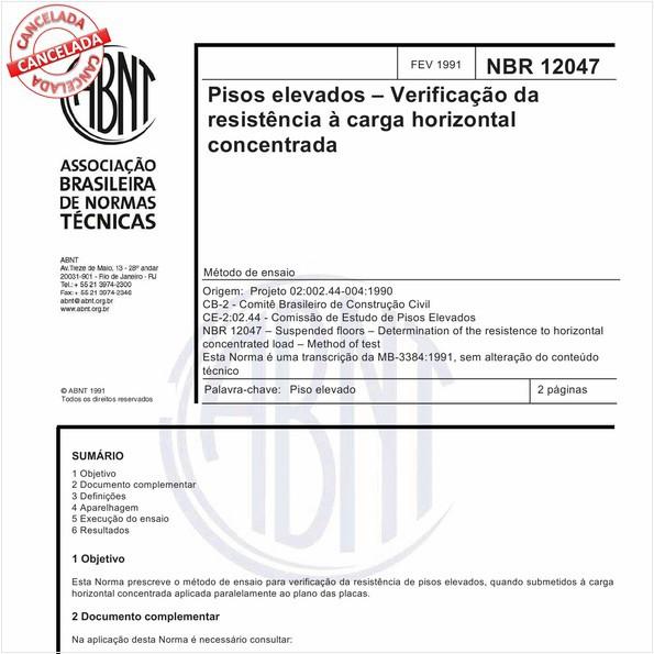 Pisos elevados - Verificação da resistência à carga horizontal concentrada
