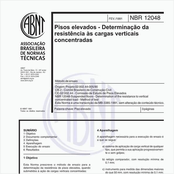 Pisos elevados - Determinação da resistência às cargas verticais concentradas - Método de ensaio