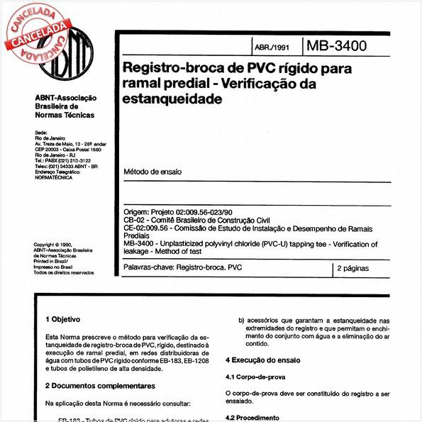 Registro-broca de PVC rígido para ramal predial - Verificação da estanqueidade