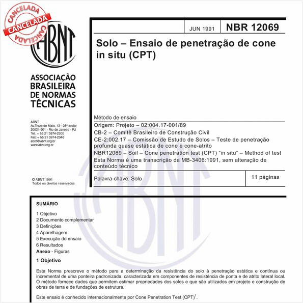 Solo - Ensaio de penetração de cone in situ (CPT)