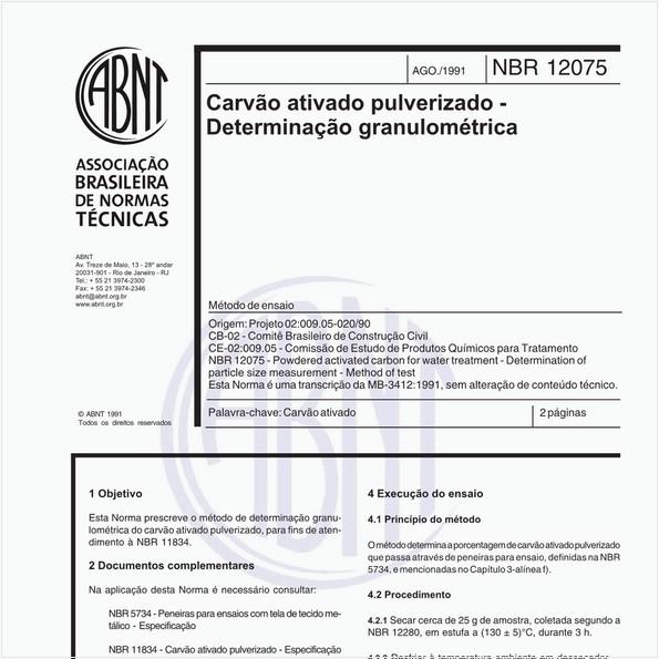 Carvão ativado pulverizado - Determinação granulométrica - Método de ensaio
