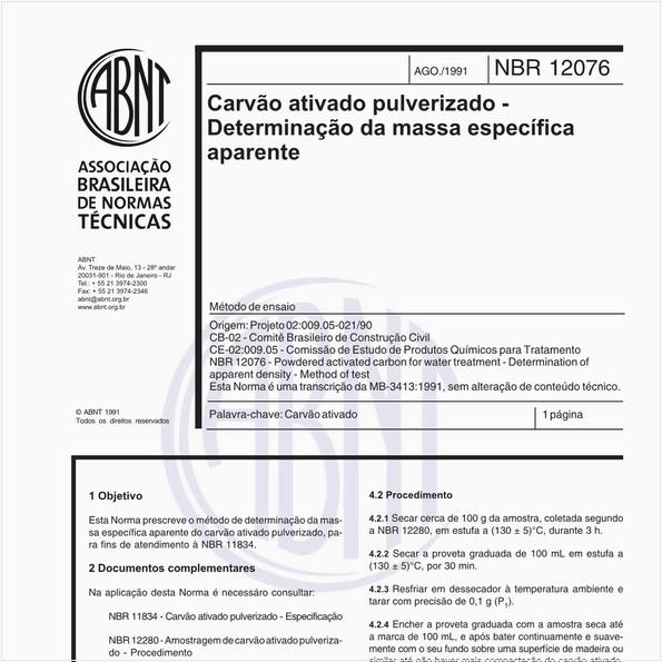 Carvão ativado pulverizado - Determinação da massa específica aparente - Método de ensaio