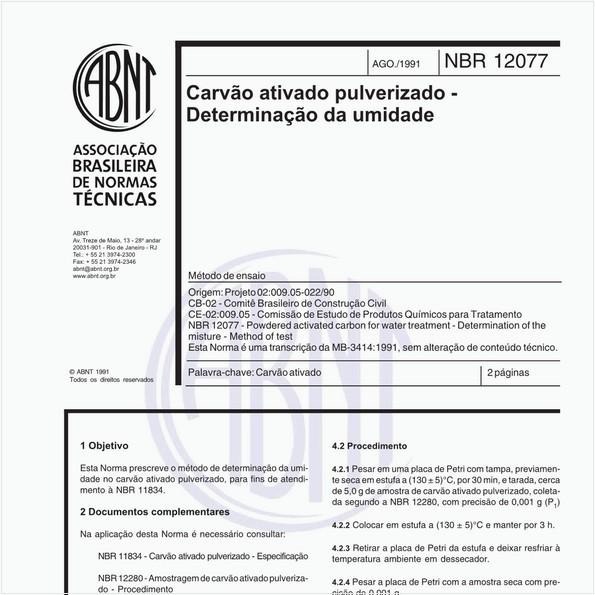Carvão ativado pulverizado - Determinação da umidade - Método de ensaio