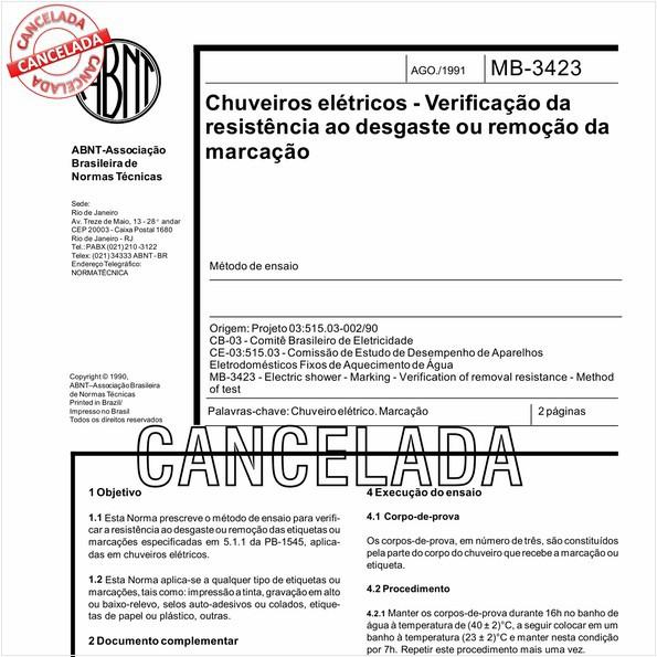 Chuveiros elétricos - Verificação da resistência ao desgaste ou remoção da marcação