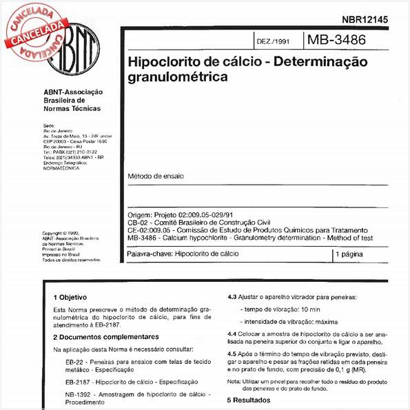 Hipoclorito de cálcio - Determinação granulométrica