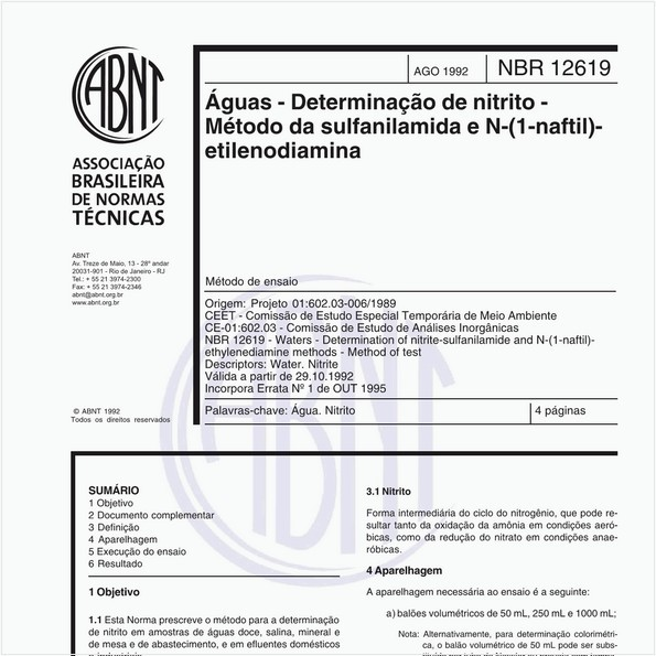 Águas - Determinação de nitrito - Método de sulfanilamida e N-(1- Naftil) - Etilenodiamina - Método de ensaio