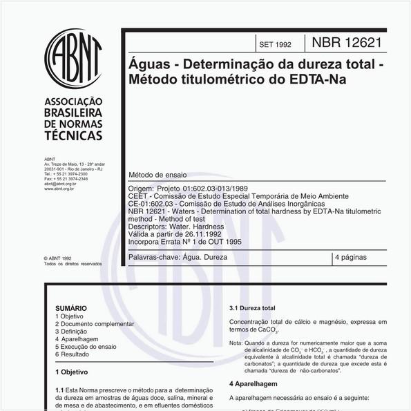 Águas - Determinação da dureza total - Método titulométrico do EDTA - Na- Método de ensaio