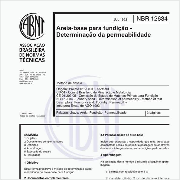 Areia-base para fundição - Determinação da permeabilidade - Método de ensaio