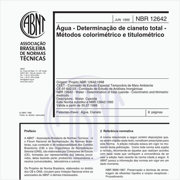 Água - Determinação de cianeto total - Métodos colorimétrico e titulométrico