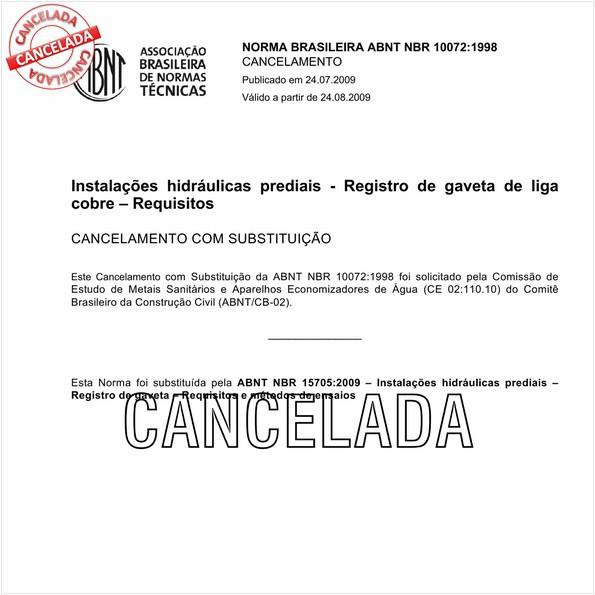 Instalações hidráulicas prediais - Registro de gaveta de liga de cobre - Requisitos
