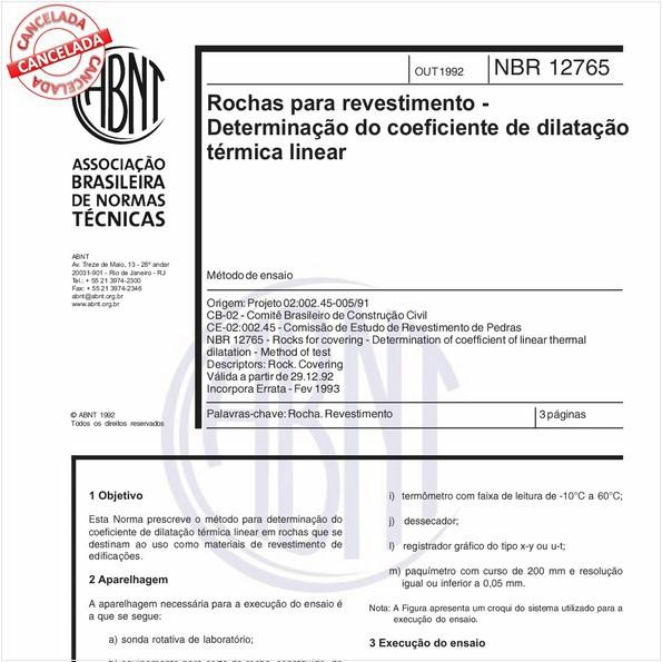 Rochas para revestimento - Determinação do coeficiente de dilatação térmica linear