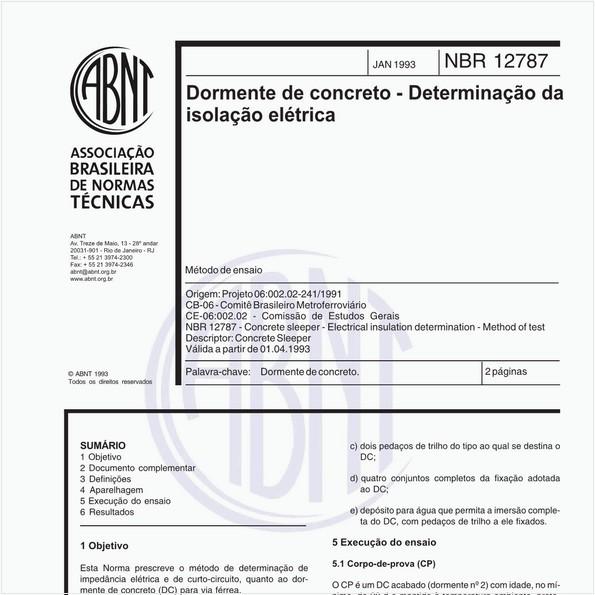 Dormente de concreto - Determinação da isolação elétrica - Método de ensaio