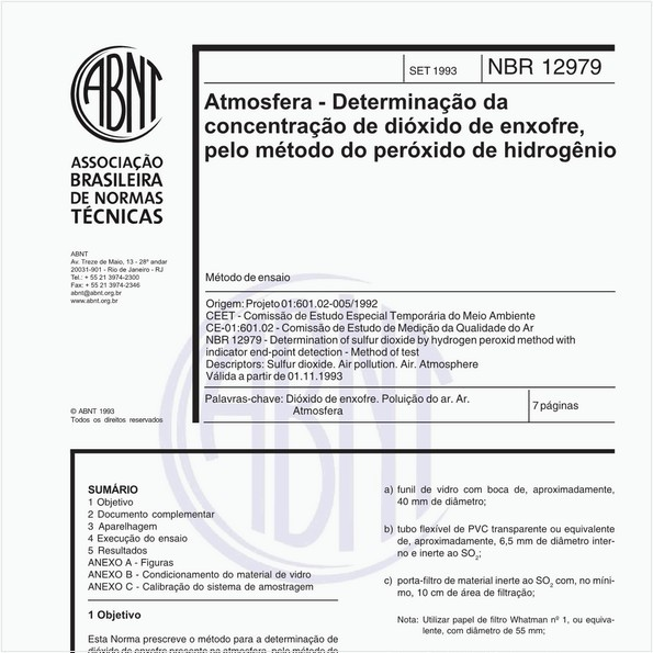 Atmosfera - Determinação da concentração de dióxido de enxofre, pelo método do peróxido de hidrogênio - Método de ensaio
